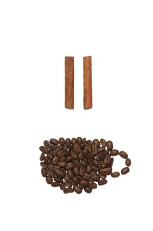 Creative concept image of coffee time with pause sign isolated on white background. Top view, flat lay.