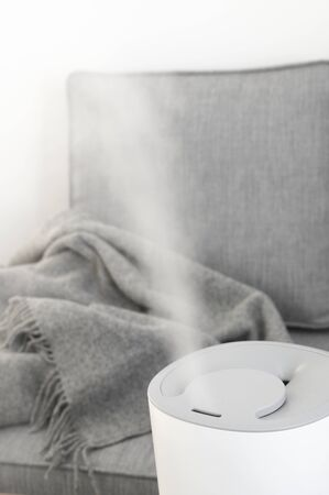 Working white air ultrasonic humidifier against grey sofa in living room.