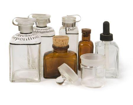 vintage pharmacy`s bottles Stock Photo