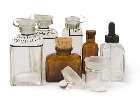 vintage pharmacy`s bottles Stock Photo