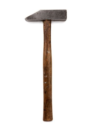 VINTAGE TILE SETTERS` HAMMER ISOLATED ON WHITE BACKGROUND Stock Photo