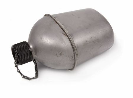 VINTAGE US ARMY CANTEEN ISOLATED ON WHITE BACKGROUND