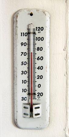 壁にビンテージ ホワイト エナメル屋外温度計 写真素材