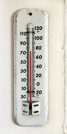 vintage white enamel outdoor thermometer on the wall