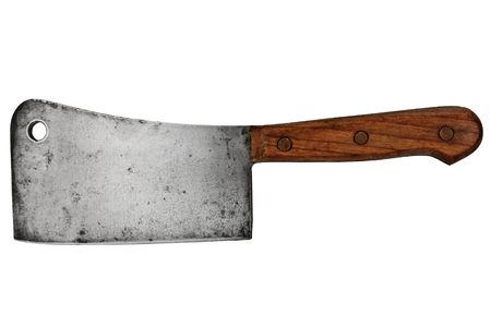 vintage meat cleaver isolated over white background photo