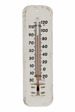 ビンテージ ホワイト エナメル白で隔離される屋外の温度計 写真素材
