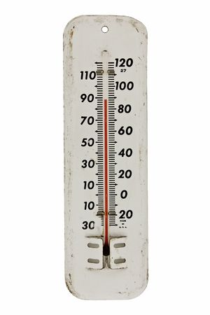 hot weather: vintage white enamel outdoor thermometer isolated on white