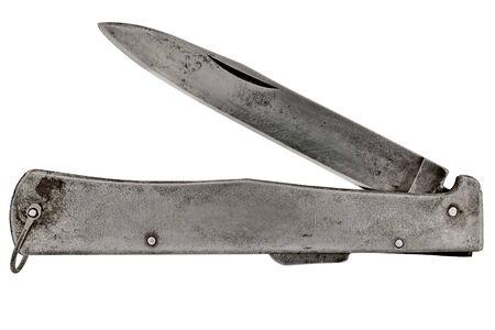 白い背景で隔離のビンテージ ポケット ナイフ