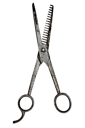 vintage barber scissors isolated over white background photo