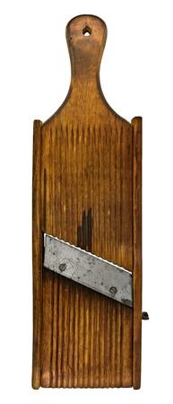 ヴィンテージの木製シュレッダー スライサー マンドリン型ボード 写真素材