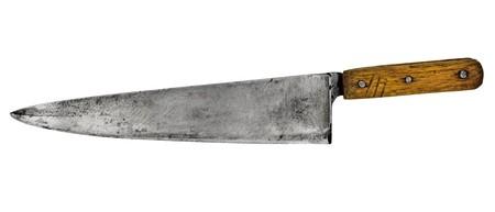 白で分離されたヴィンテージ シェフ キッチン ナイフ