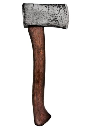 tortured: vintage house axe isolated over white background