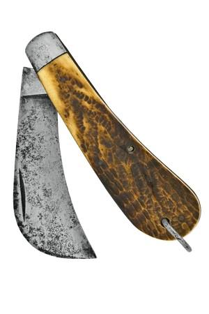vintage pruning or hook knife isolated over white background Banco de Imagens