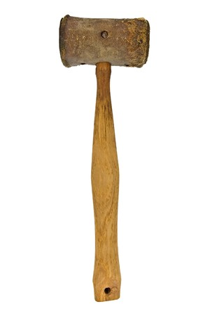 rawhide: vintage rawhide mallet isolated over white background