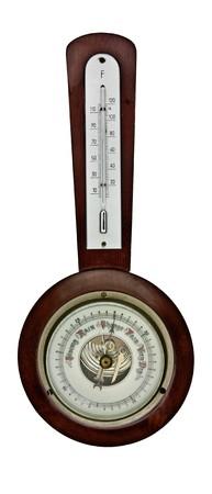 vintage barometer isolated over white background Stock Photo