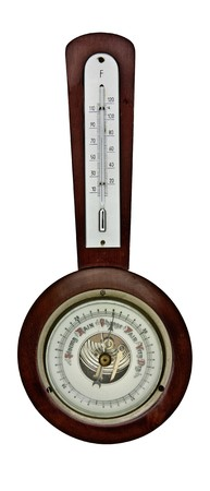 vintage barometer isolated over white background Stock Photo