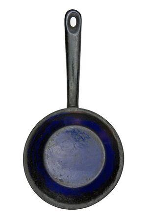 vintage enameled skillet over white background