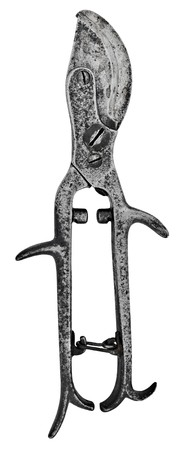 vintage pitted pruning shears over white background photo
