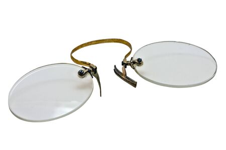 collectibles: vintage pince nez isolated over white background