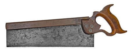 cooper: vintage tenon saw with cooper back isolated over white