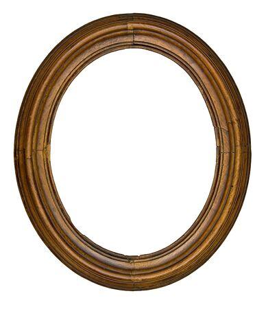 白い背景で隔離されたビンテージ木製楕円形フレーム