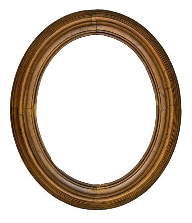 wood cut: vintage wooden oval frame isolated over white background