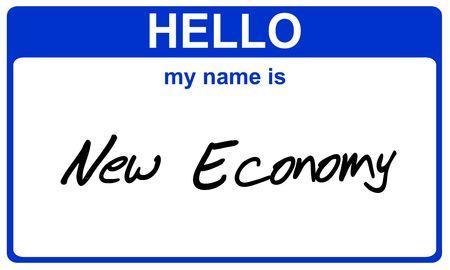 hello my name is new economy blue sticker photo