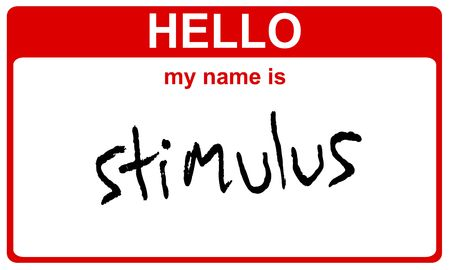 hello my name is stimulus red sticker Stock Photo - 4656829
