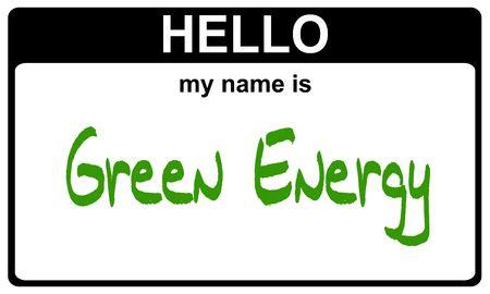 hi: hello my name is green energy black sticker Stock Photo