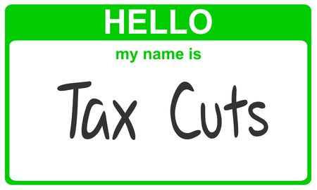 hello my name is tax cuts green sticker Stock Photo