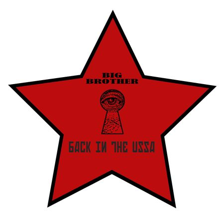 warning back: warning big brother red star back in the ussa with eye in a keyhole