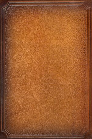 brown leathercraft tooled vintage book cover with texture and border Stock Photo - 4895867