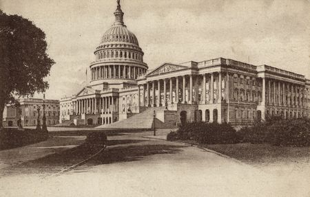 capitol hill: front of vintage postcard with drawing of the capitol