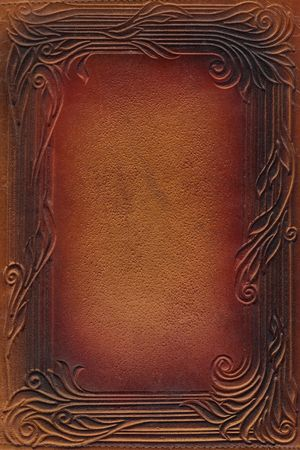 book cover design: brown and red leathercraft tooled vintage book cover with texture and border Stock Photo