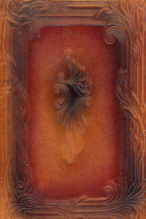 tooled leather: marrone e rosso leathercraft attrezzati vintage libro coprire con texture e delle frontiere