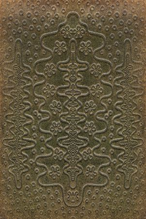 tooled: brown and green leathercraft tooled vintage book cover with texture and grain