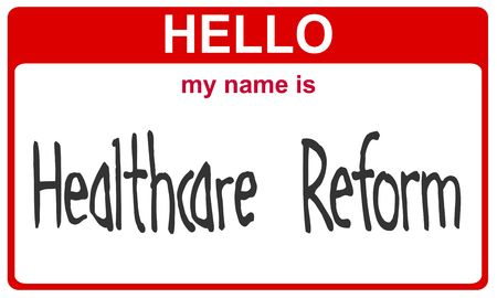 hello my name is healthcare reform red sticker Stock Photo