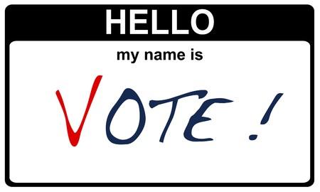 black sticker hello my name is vote concept Stock Photo - 8038076