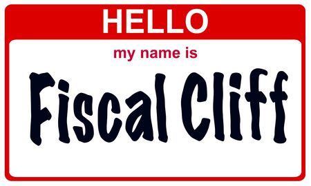 fiscal cliff: red sticker hello my name is fiscal cliff concept
