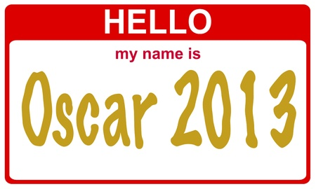 hollywood christmas: red sticker hello my name is oscar concept