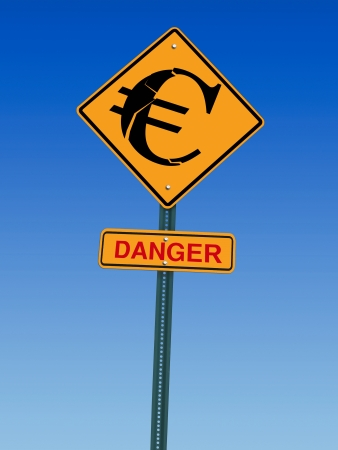 fiscal cliff: conceptual sign with euro symbol and danger warning over blue sky Stock Photo