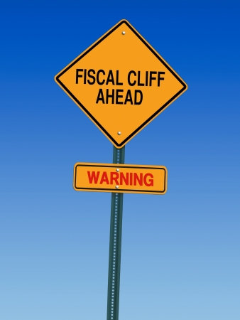 fiscal cliff ahead warning direction road sign Stock Photo - 20016216
