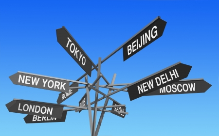 world financial capitals directions signs post over blue sky photo