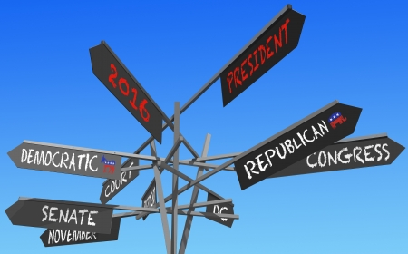 election 2016 choice conceptual post over blue sky Stock Photo