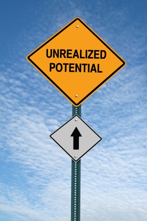 limitations: unrealized potential motivational ahead  post sign over blue sky