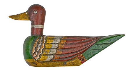 decoy: vintage wooden duck decoy isolated on white