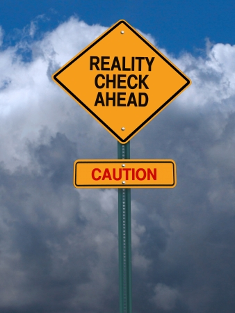 authenticity: conceptual sign with words reality check ahead caution warning over dark blue sky