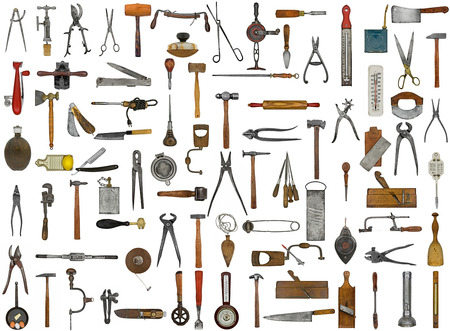 wood cutter: vintage tools and utensils collage