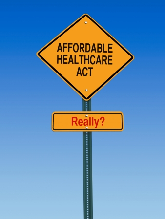obama: conceptual sign with words affordable healthcare act really warning over blue sky Stock Photo