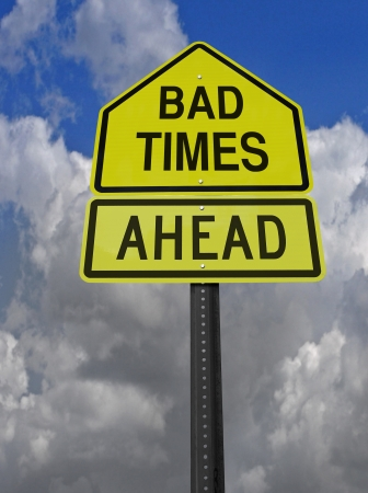 risk ahead: conceptual sign with words big times ahead warning over blue sky Stock Photo